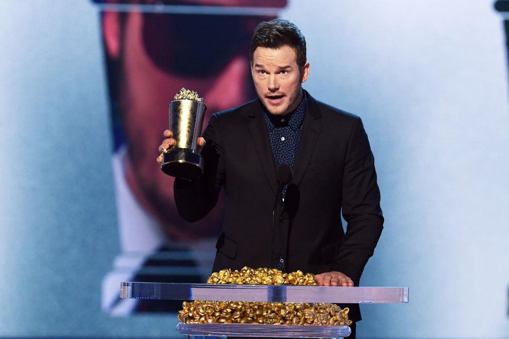 Honoree Chris Pratt accepts the MTV Generation Award onstage during the 2018 MTV Movie And TV Awards at Barker Hangar on June 16, 2018 in Santa Monica, California.