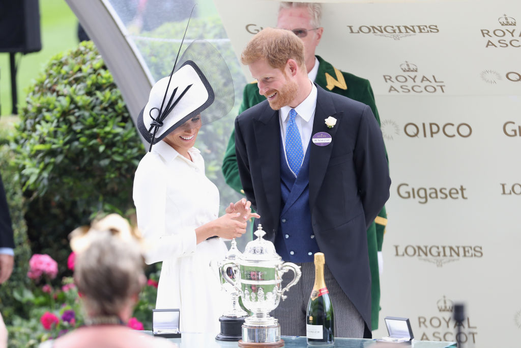 Meghan, Duchess of Sussex and Prince Harry, Duke of Sussex attend Royal Ascot Day 1 at Ascot Racecourse on June 19, 2018 in Ascot, United Kingdom.