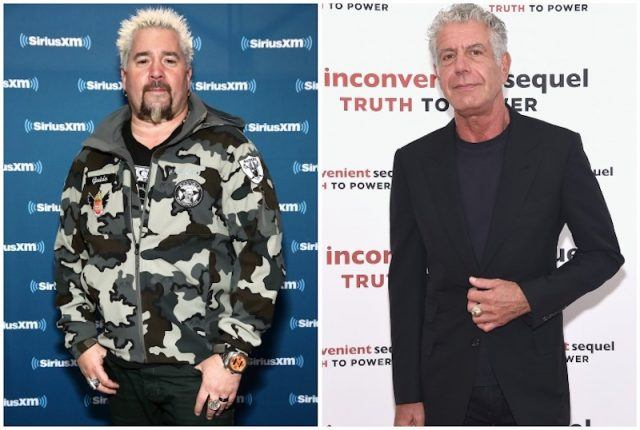 Anthony Bourdain and Guy Fieri collage.