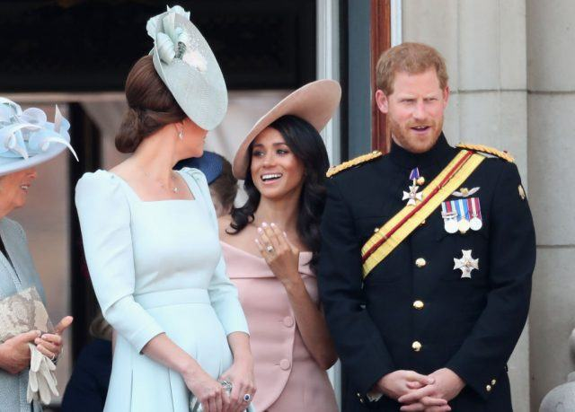 Camilla, Duchess Of Cornwall, Catherine, Duchess of Cambridge, Meghan, Duchess of Sussex, Prince Harry, Duke of Sussex on the balcony of Buckingham Palace