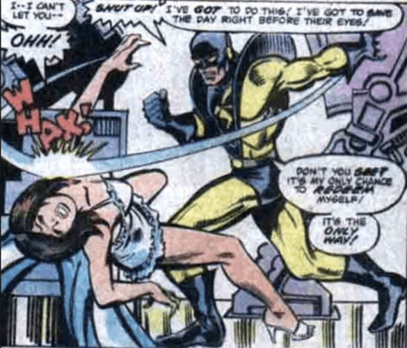 Hank Pym striking Janet van Dyne.