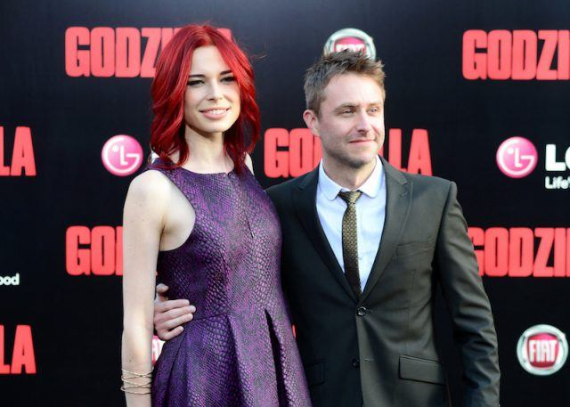 Chloe Dykstra and Chris Hardwick on a red carpet.