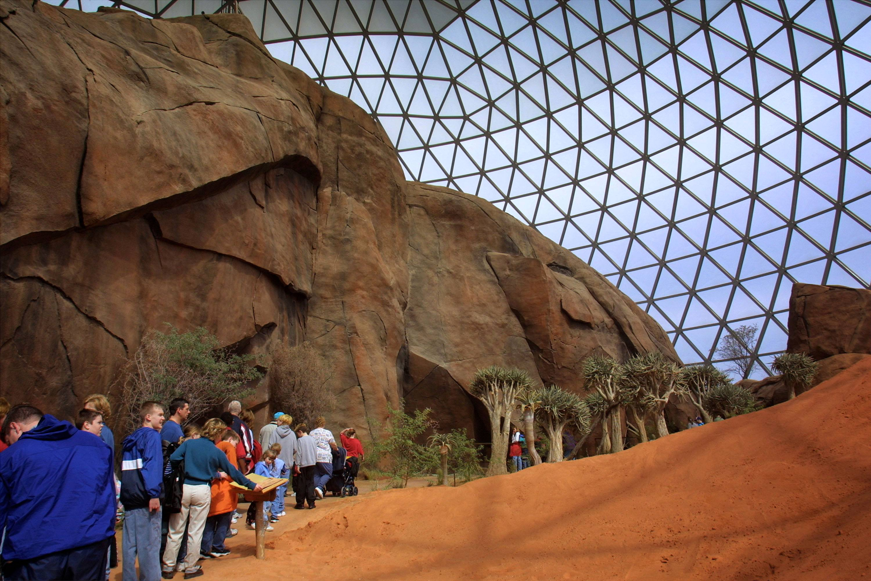 402983 04: The Desert Dome opens at the Henry Doorly Zoo March 27, 2002 in Omaha, NE. The dome houses the world's largest indoor desert containing thousands of plants and animals from three of the largest deserts.