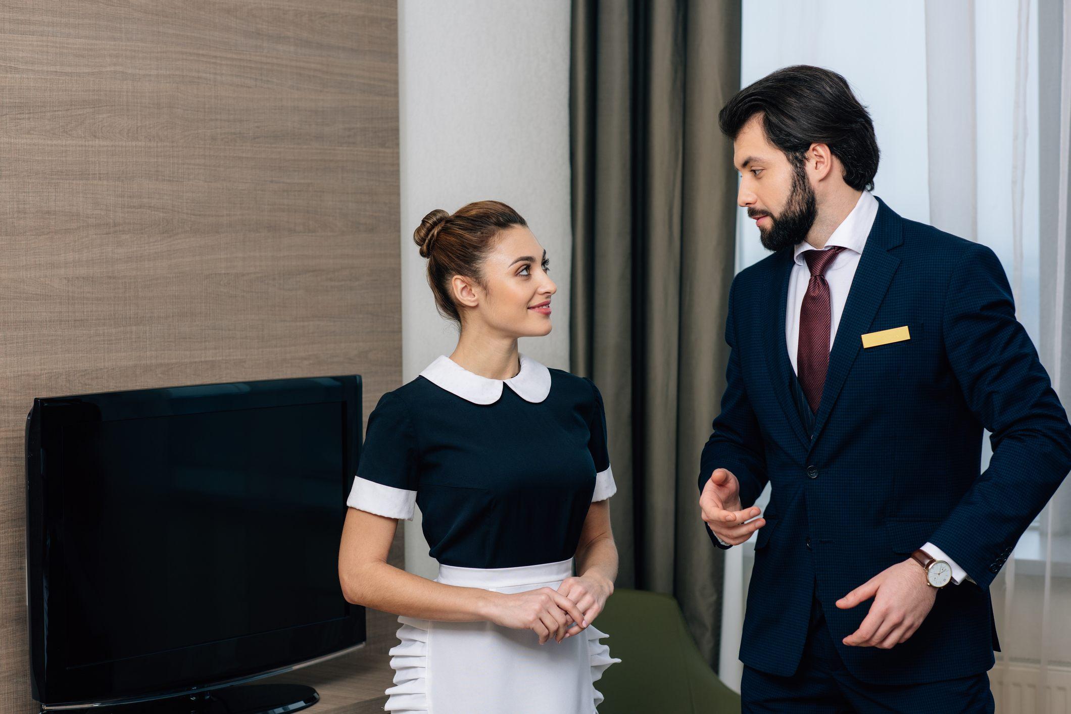 Hotel staff talking