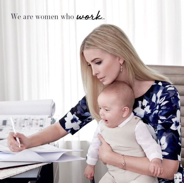 Ivanka and her son at a desk
