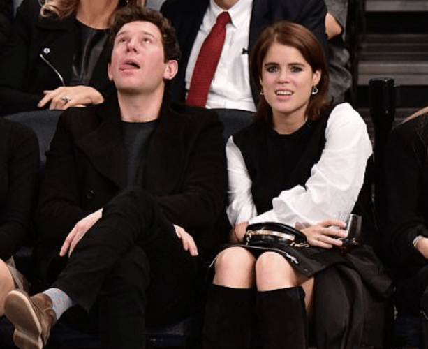 Jack Brooksbank and Princess Eugenie at a basketball game.