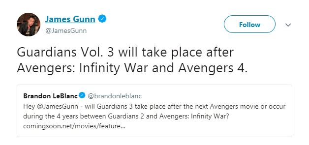 A tweet about Guardians of the Galaxy Vol. 3