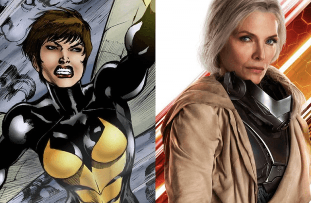 A collage featuring Janet Van Dyne and Michelle Pfeiffer.