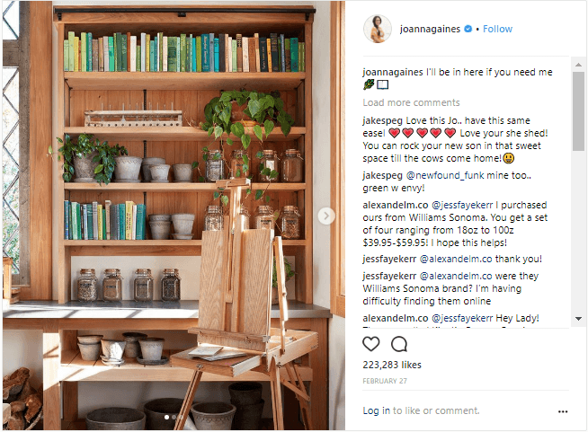 Joanna Gaines' bookshelf stocked with gardening books