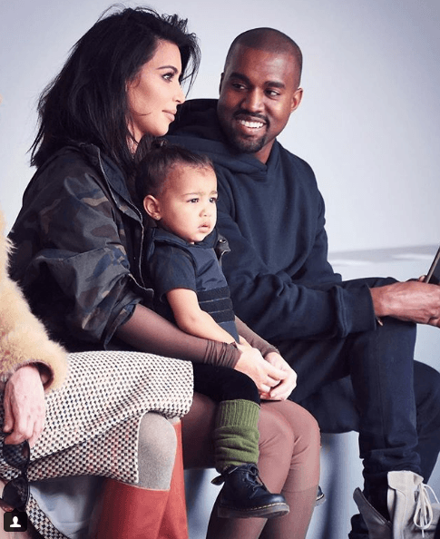 Kanye West and Kim Kardashian-West with their family