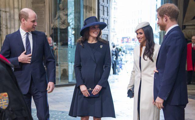 Meghan Markle and Prince Harry standing with Prince William and Prince Harry.