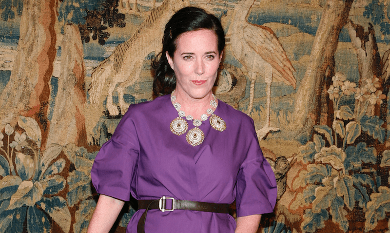 Kate Spade in a purple dress