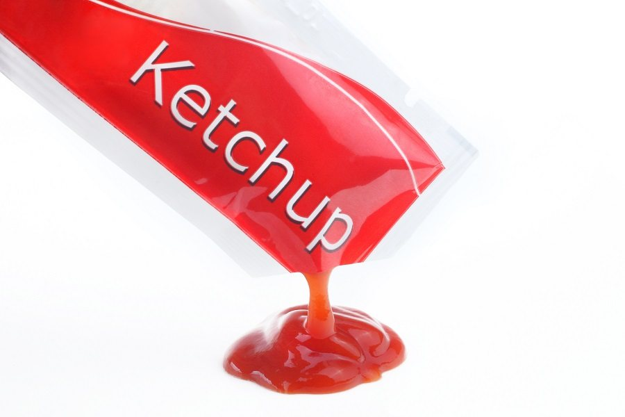 Opened ketchup packet