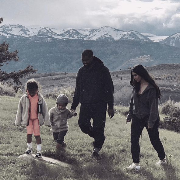 Kim Kardashian with her family
