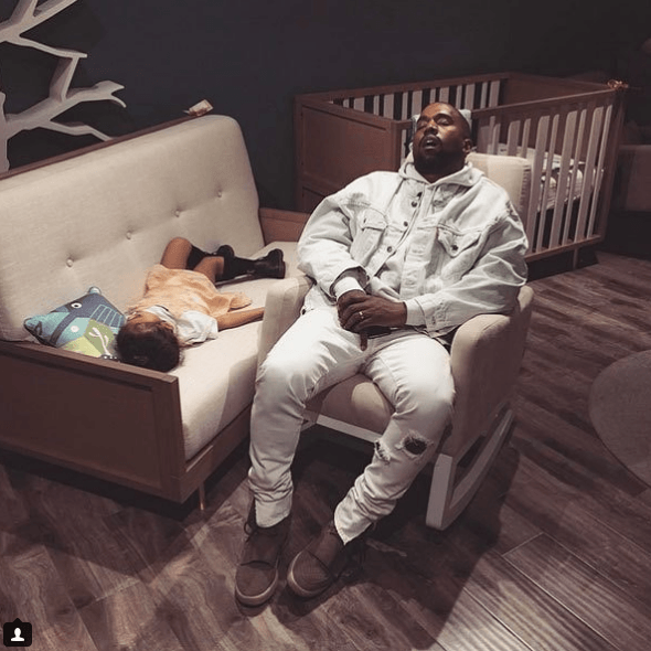 Kanye West taking a nap