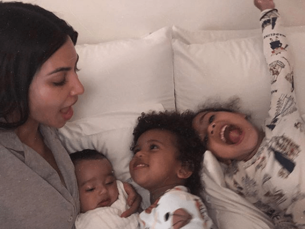 Kim Kardashian with her children on Instagram