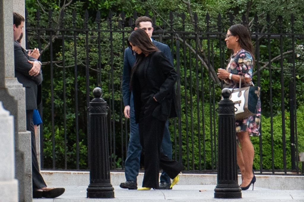 Kim Kardashian is seen entering the grounds of the White House