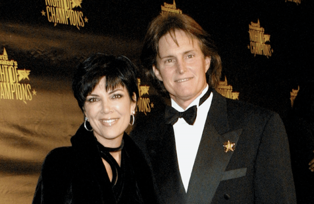 Kris Jenner and Bruce Jenner smiling on a red carpet.