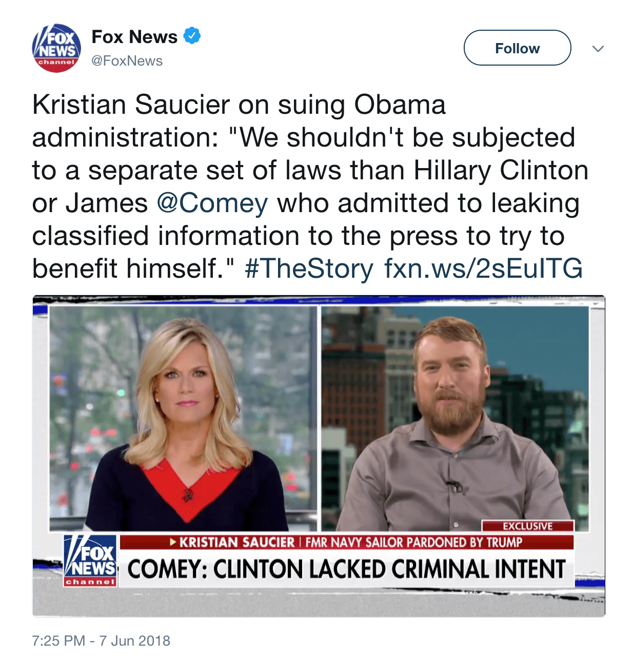 Kristian Saucier sues Comey and Obama