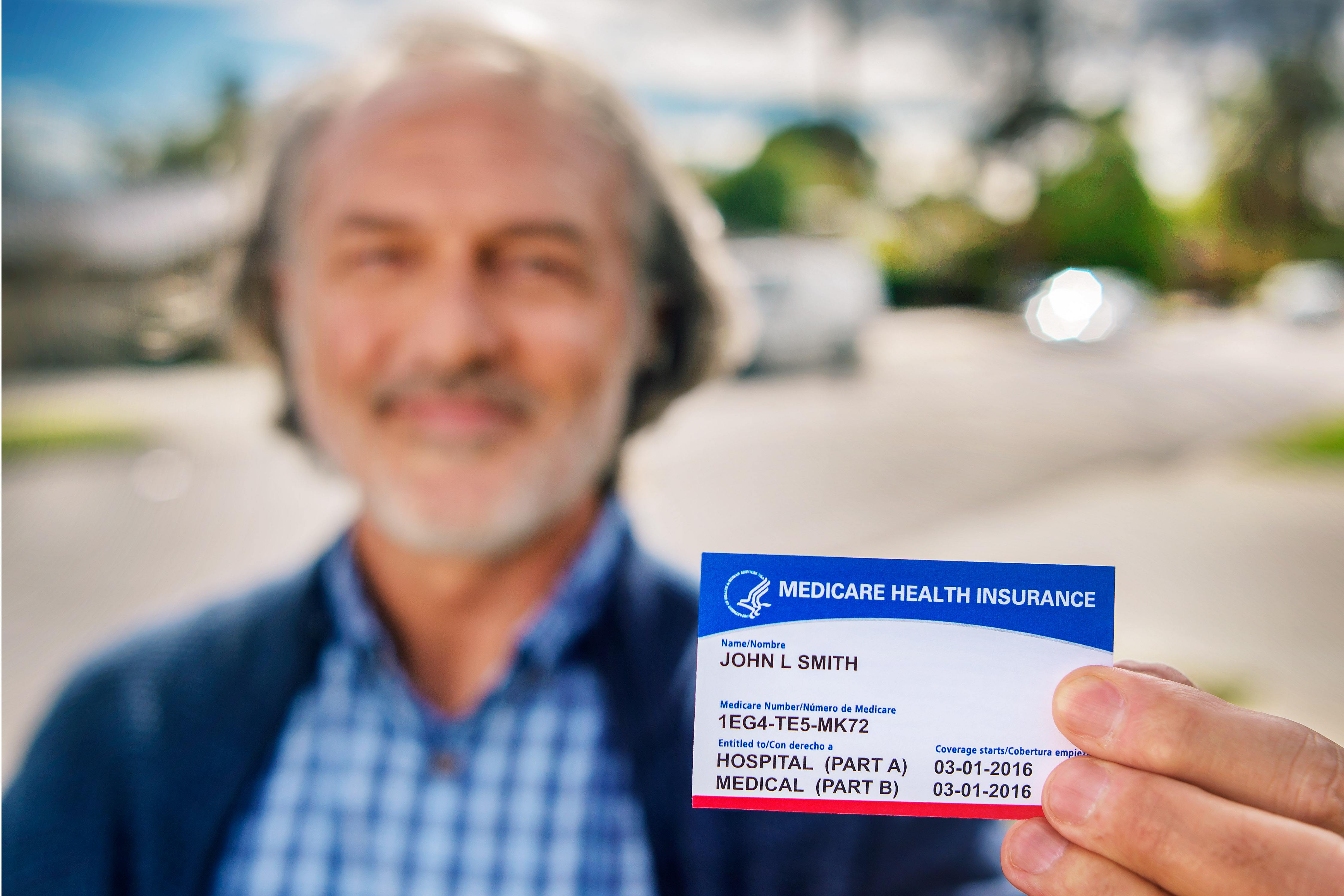 Man with new medicare card