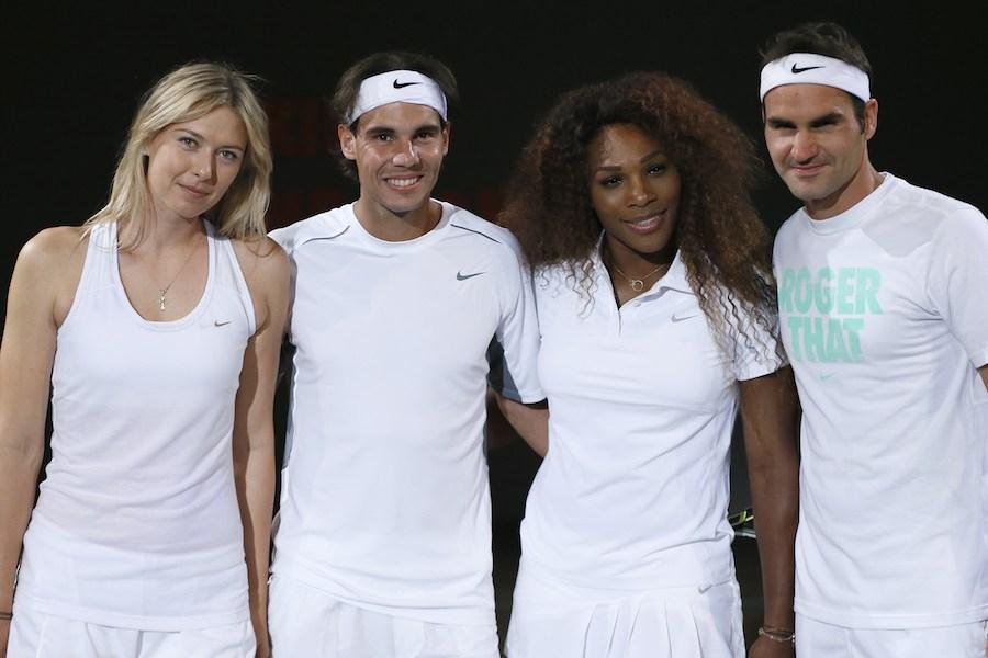 Spanish Rafael Nadal (2ndL), Swiss Roger Federer (R), Russian Maria Sharapova (L) and US Serena Williams