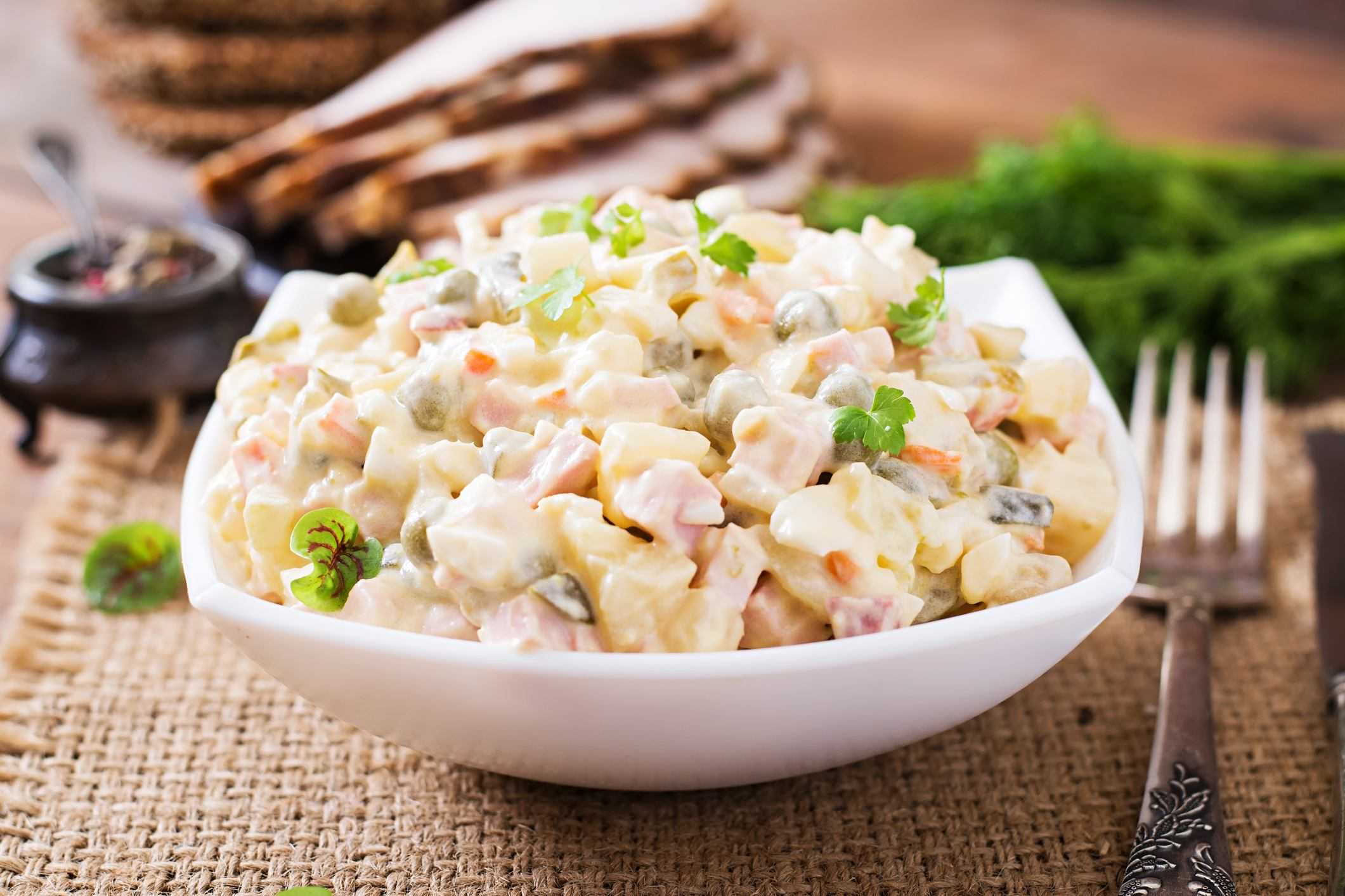 "Traditional Russian mayonnaise salad ""Olivier"""