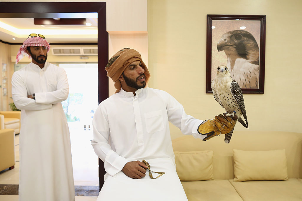 Falcon owners wait to check in their birds at the Abu Dhabi Falcon Hospital