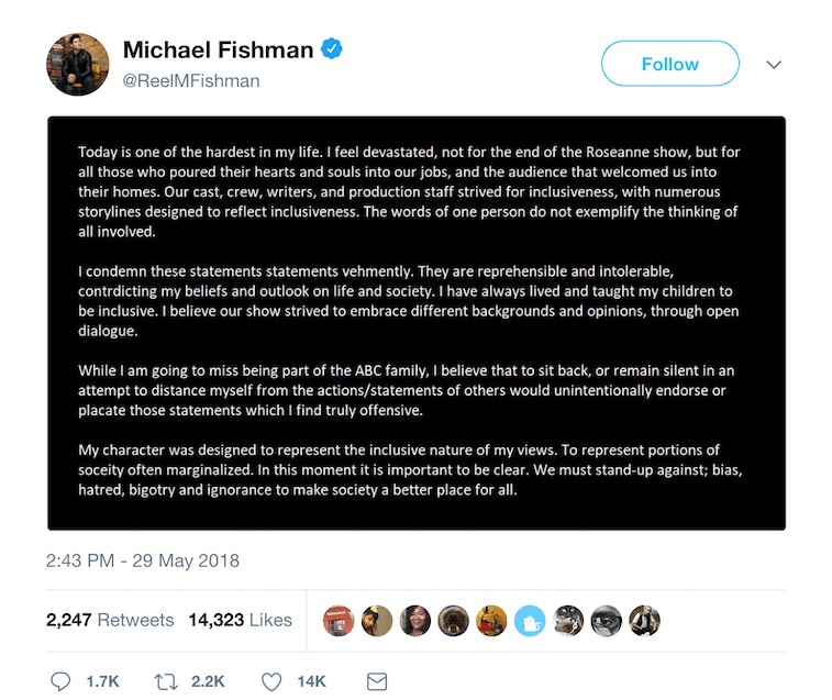 Michael Fishman's tweet.