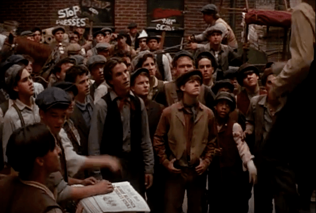"A scene in Disney's ""Newsies"""
