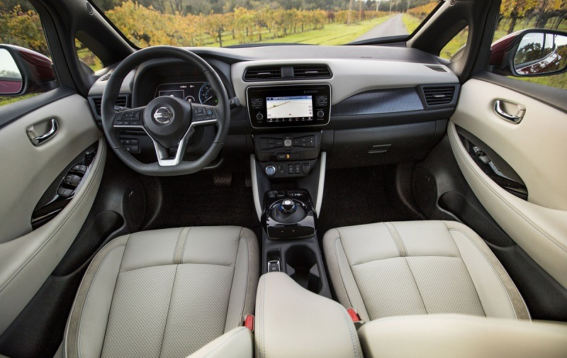 2018 Nissan Leaf front seats and control panel from back seat