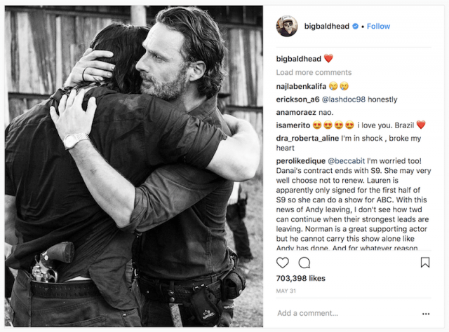 Lincoln and Reedus in an Instagram post.