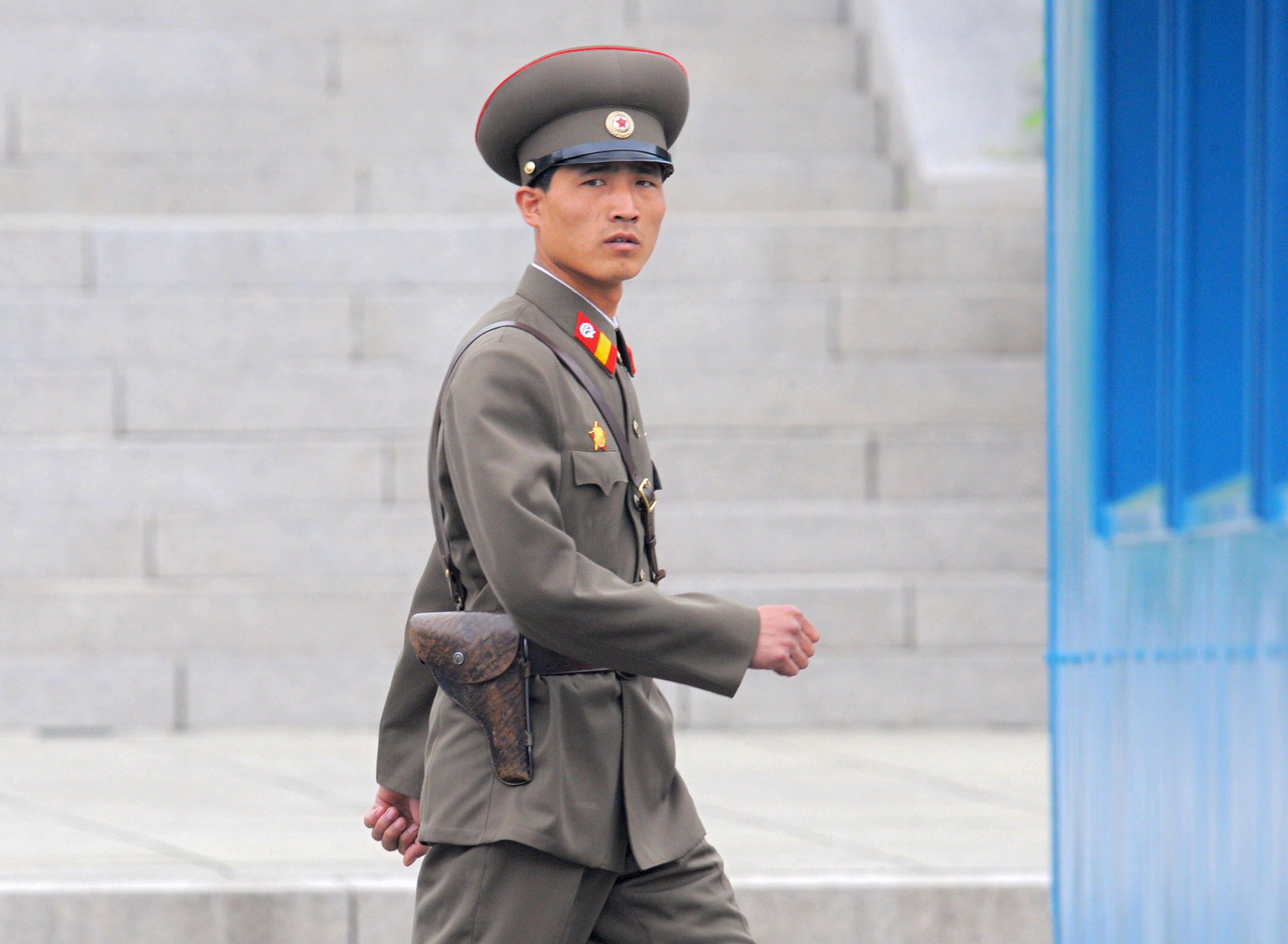A North Korean soldier on April 30, 2008