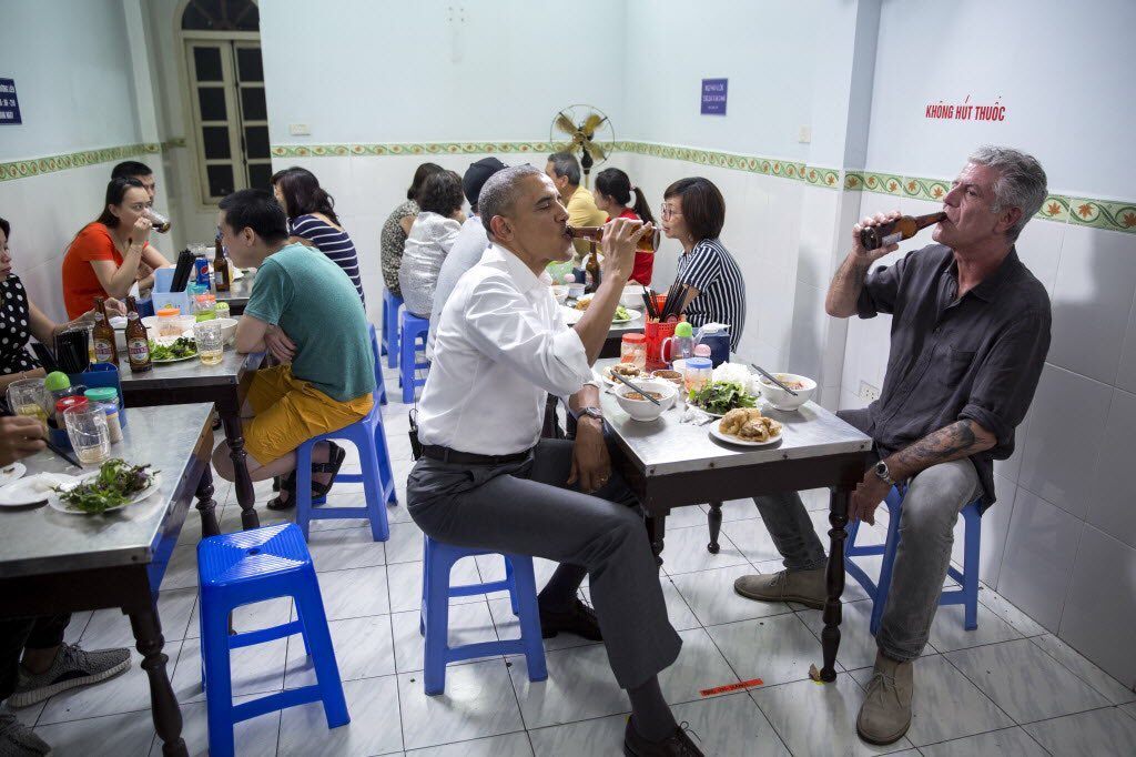Barack Obama and Anthony Bourdain in Vietnam