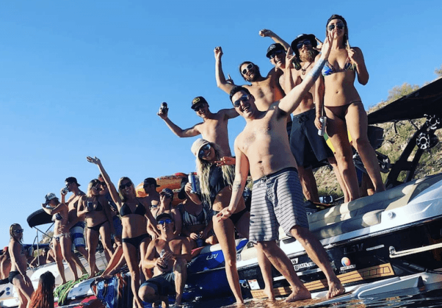 A group of people at Party Cove.