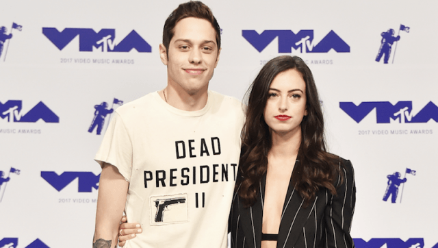 Pete Davidson and Cazzie David on a red carpet.