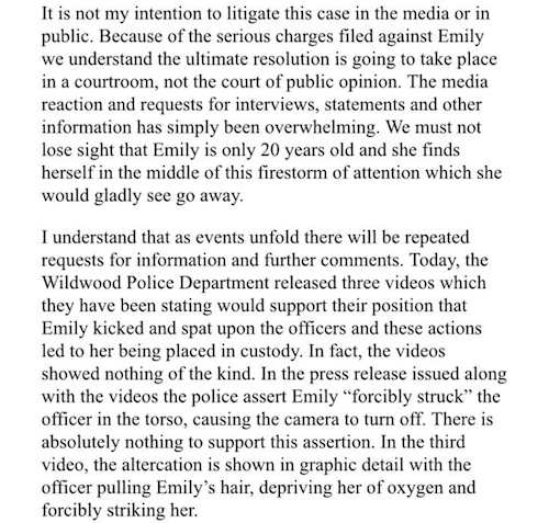 A statement by Emily Weinman's lawyer.