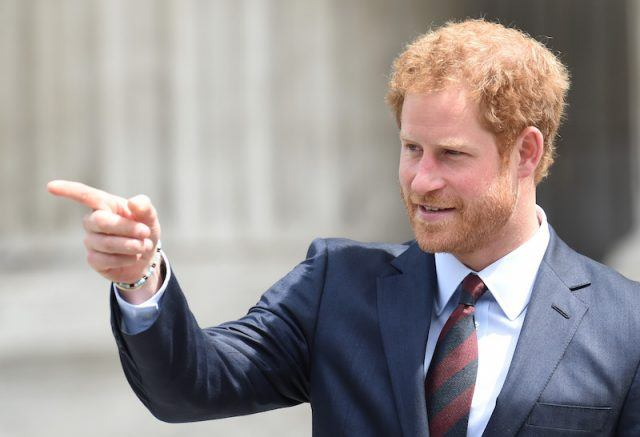 Prince Harry pointing his finger.