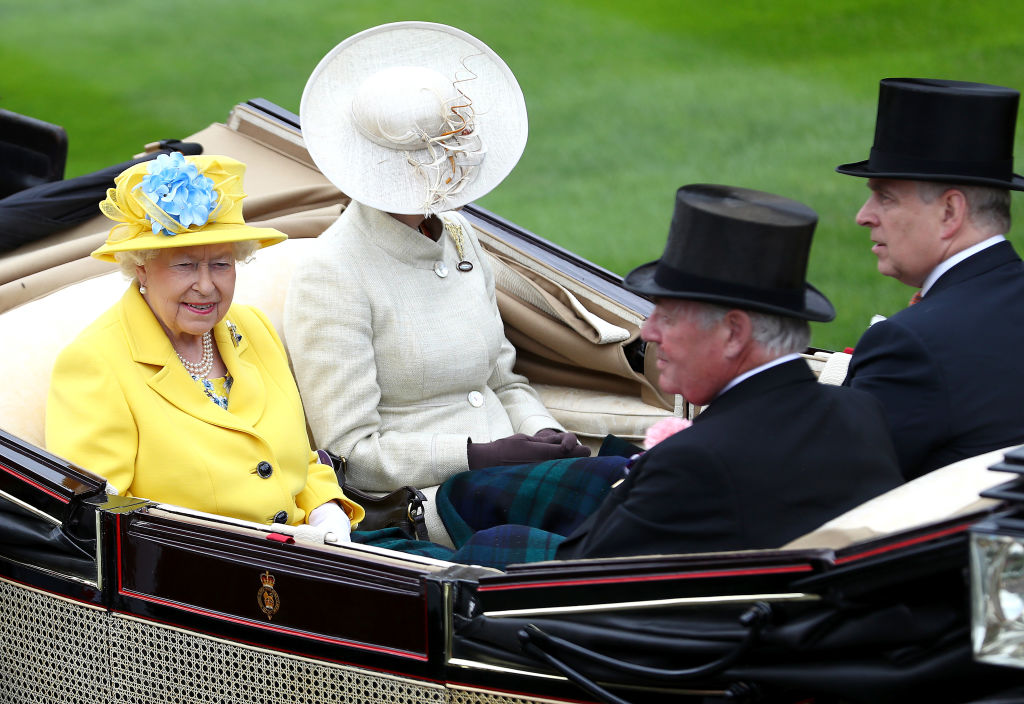 Queen Elizabeth II, Princess Anne, Princess Royal, Prince Andrew, Duke of York and Lord Vestey arrive on day 1 of Royal Ascot