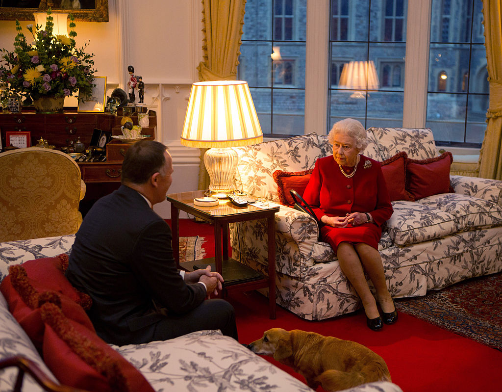 Queen Elizabeth II speaks with Prime Minister of New Zealand John Key at a audience held at Windsor Castle