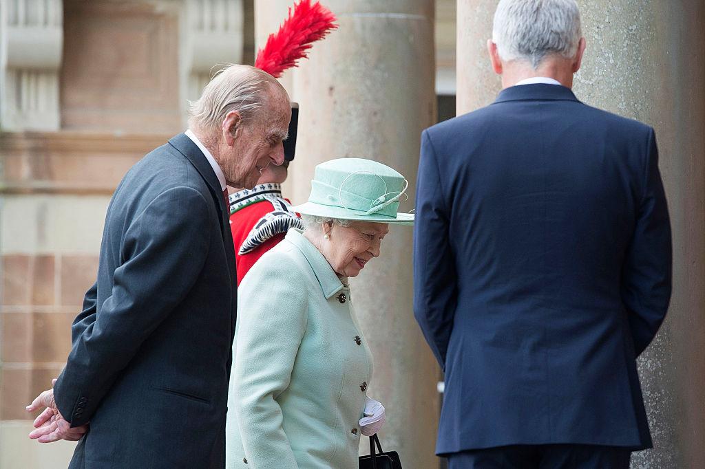 Queen Elizabeth II and Prince Philip, Duke of Edinburgh arrive at Hillsborough Castle
