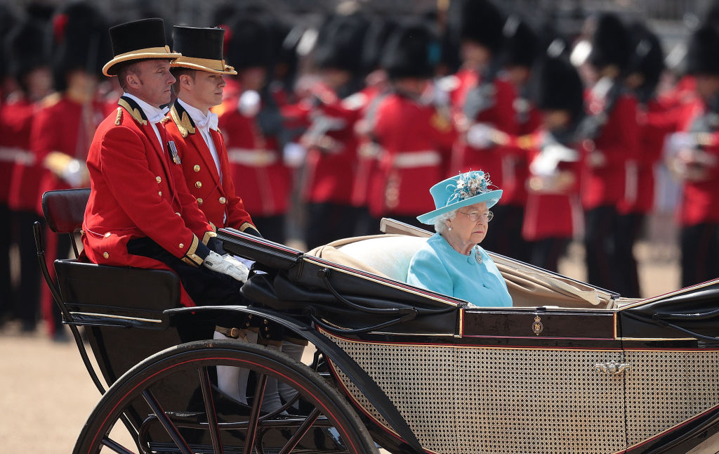 Queen Elizabeth II during Trooping The Colour ceremony at The Royal Horseguards