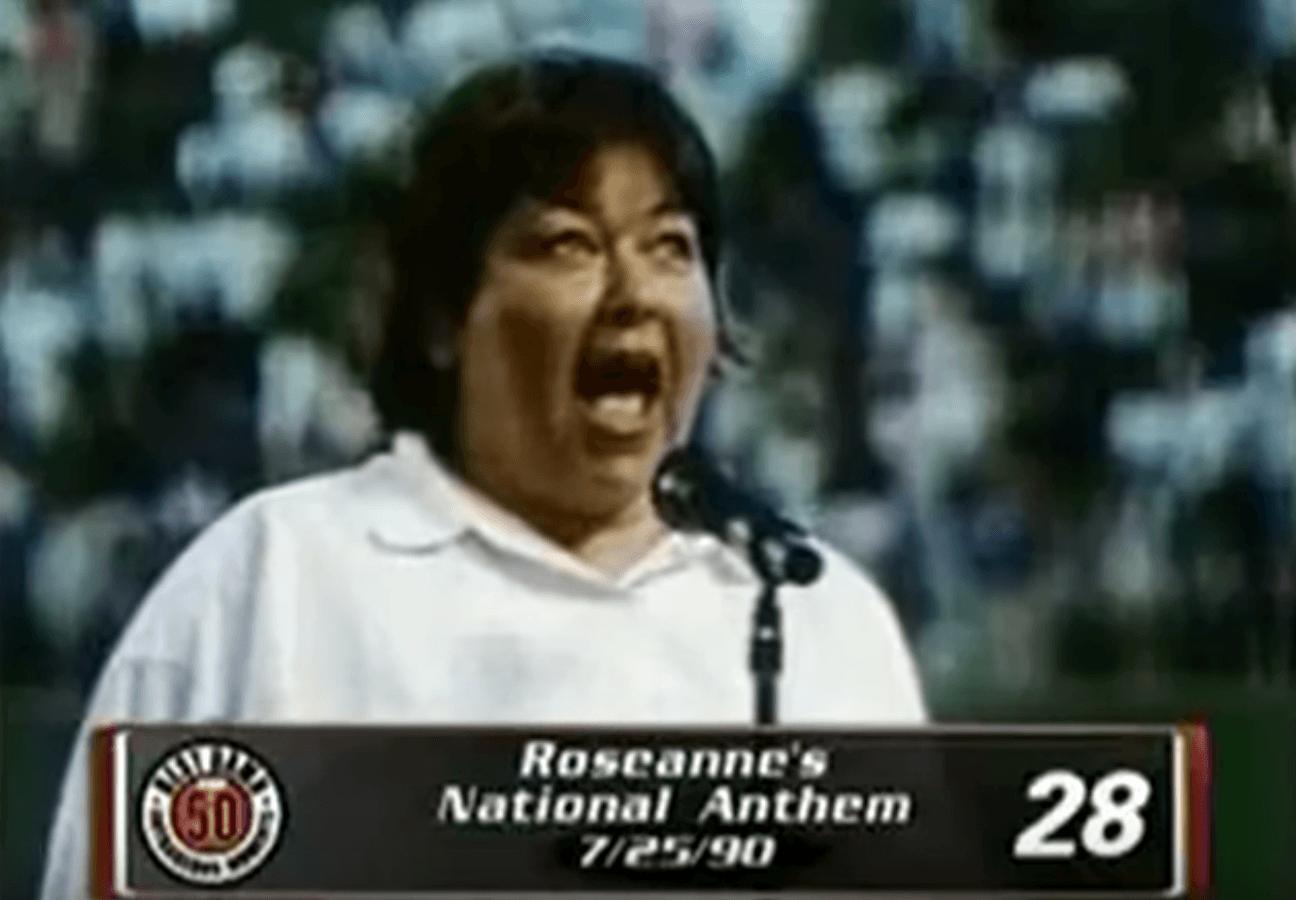 Roseanne Barr singing the national anthem