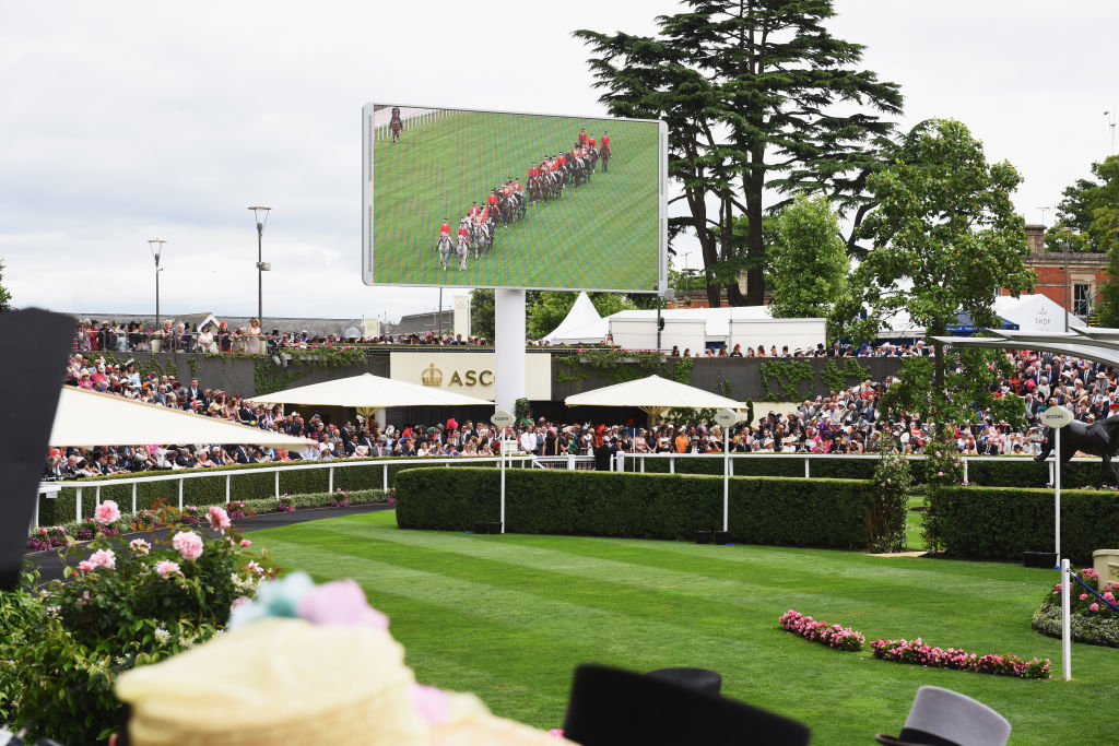 A general view of the parade ring as The Royal carriage arrives