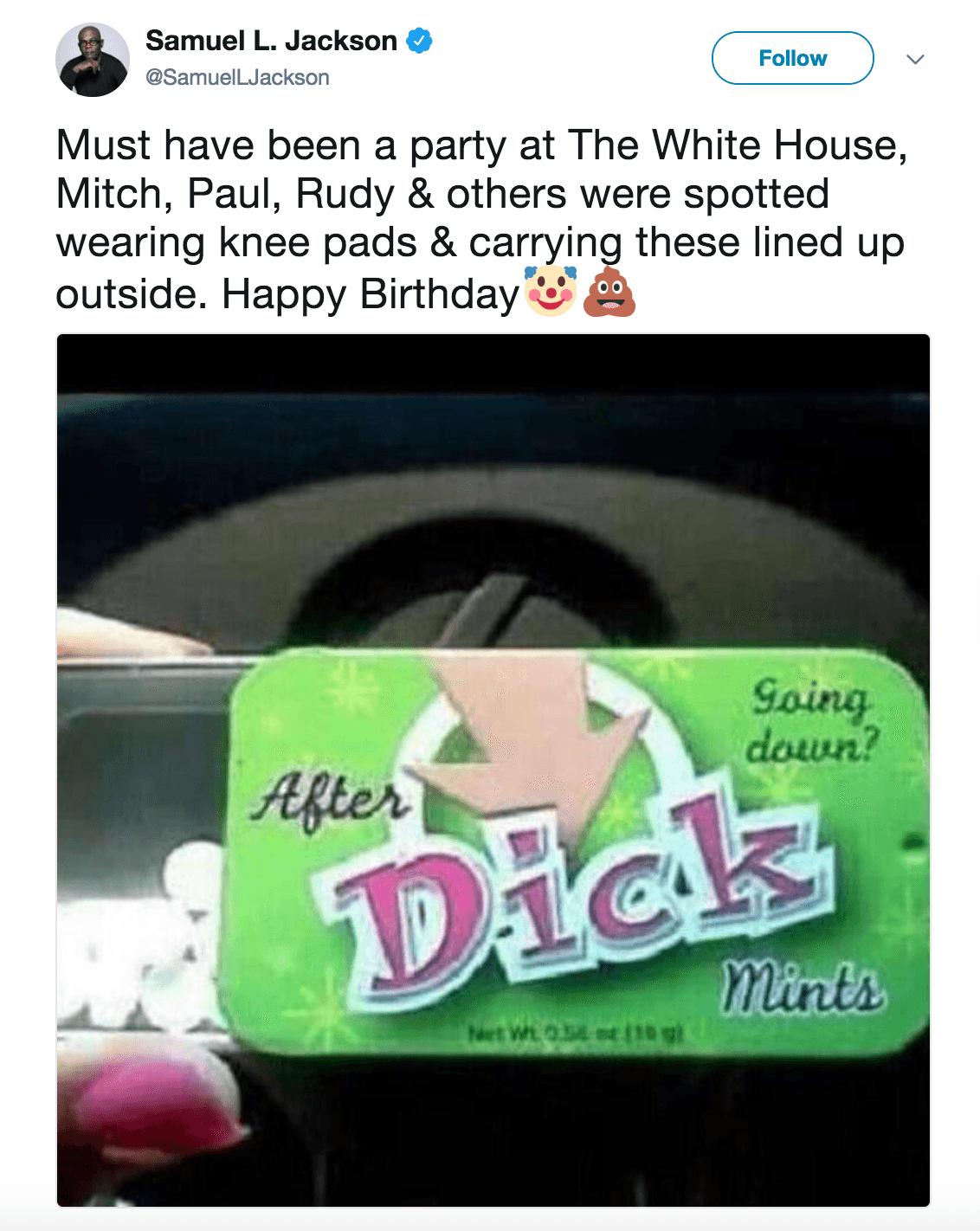 Samuel L Jackson Birthday tweet