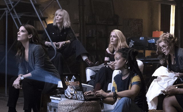 The cast of 'Ocean's 8' sitting together in a basement as they look at a screen,.