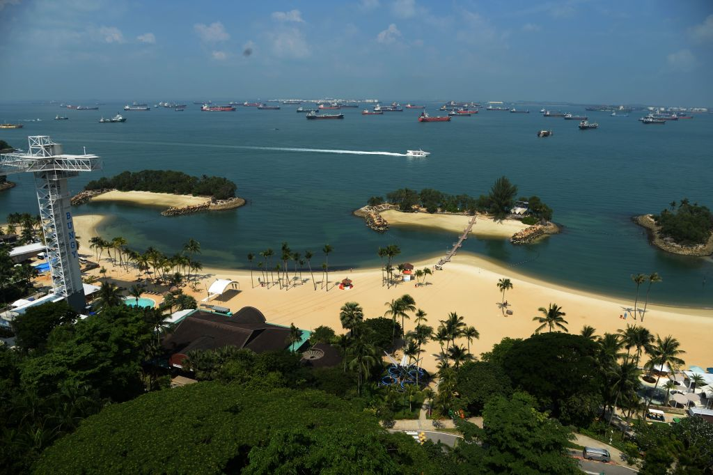 Siloso beach on Sentosa island