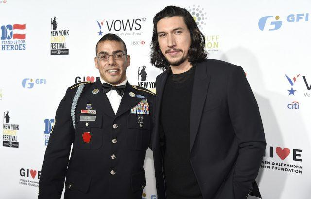 Staff Sergeant, US Army Michael Kacer and Actor Adam Driver at the 10th Annual Stand Up for Heroes event