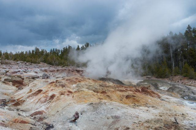 Steamboat Geyser at Norris geyser basin in Yellowstone National Park, USA