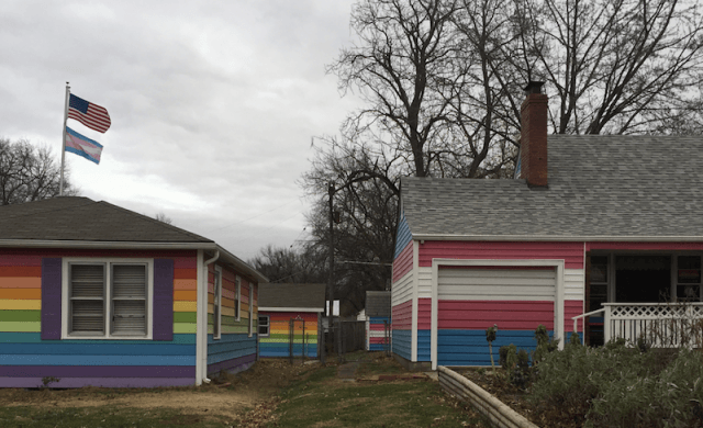 The Equality House across from the church.