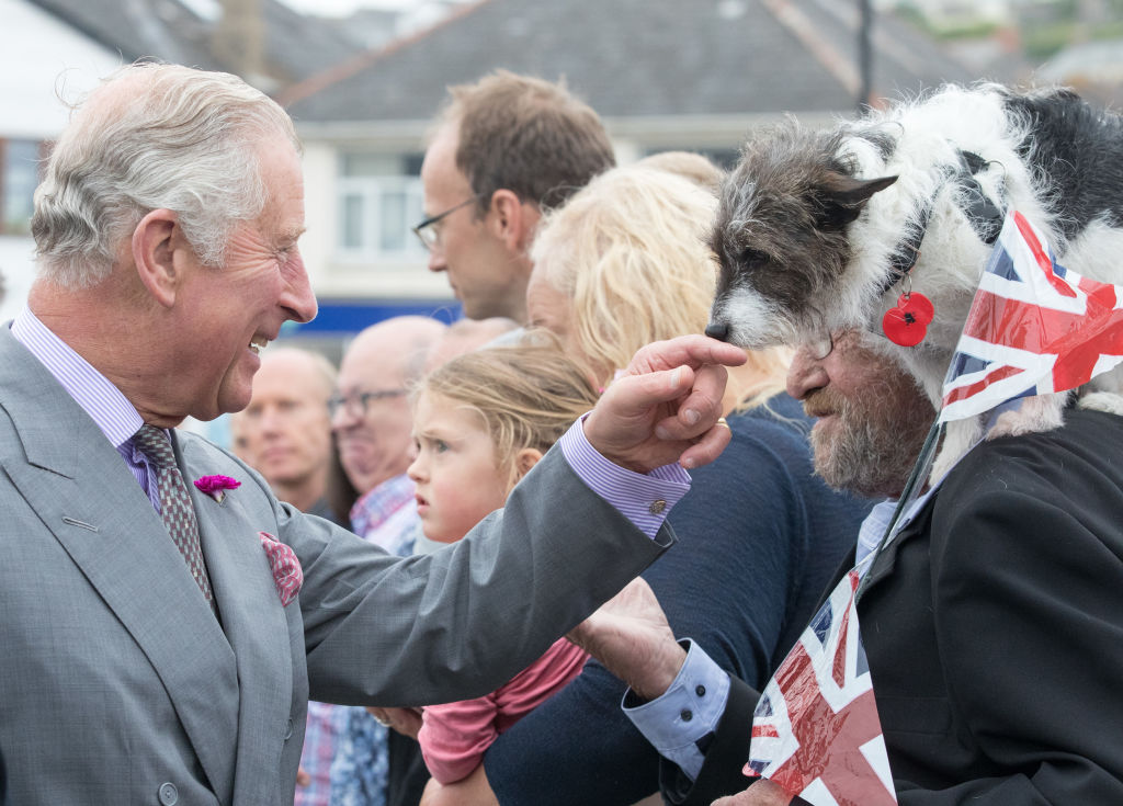 Prince Charles, Prince of Wales greets Sophie, a three year old Jack Russell Terrier